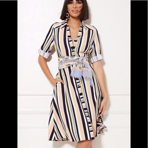 NY & Company Stripe Belted Shirtdress